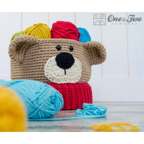 Teddy Bear Basket - Crochet Pattern by One and Two Company