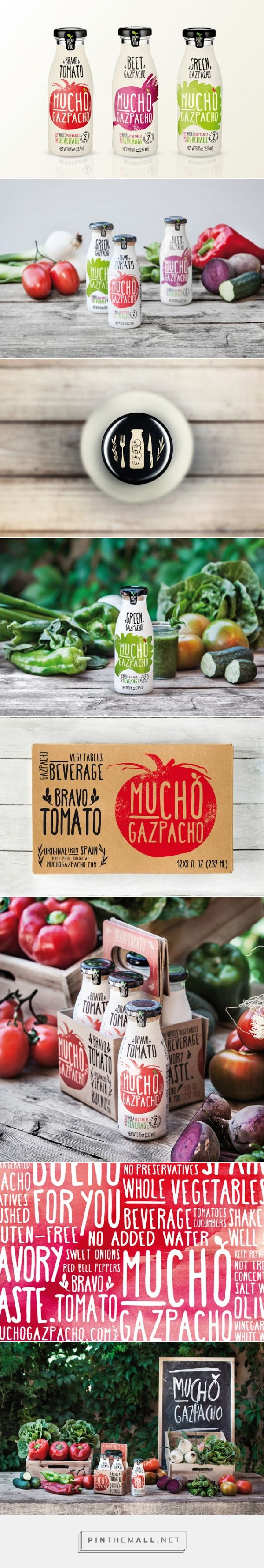 Mucho Gazpacho beverage packaging designed by Estudio Versus - http://www.packagingoftheworld.com/2015/08/mucho-gazpacho.html
