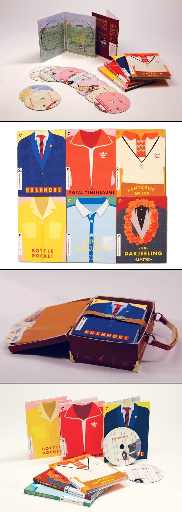 Here's another top team pin with over 160 repins: Wes Anderson Special Edition DVDs. #identity #packaging too bad it's not real PD #toppins