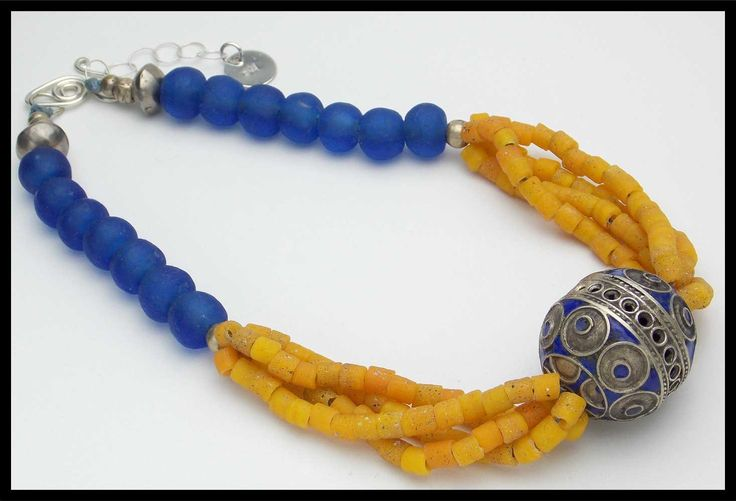OUT of MOROCCO - Handmade Enameled Berber Focal - Handmade African Beads Necklace by sandrawebsterjewelry on Etsy