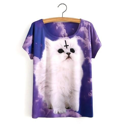 Hot Sale One Size Loose Short Batwing Sleeve Women's T-Shirt Cute Cat Printed Tees Women T Shirt Animal Print Cotton Tops