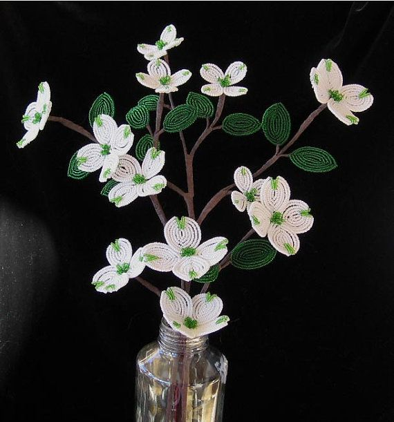 Dogwood Branch - Dee's French Beaded Flowers