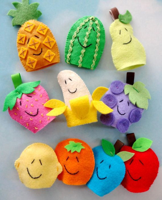 Felt Fruit Finger Puppets Sewing Pattern PDF door preciouspatterns