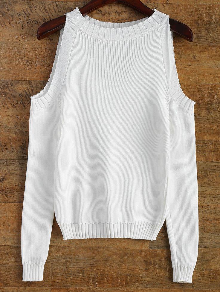$23.99 Cutout Open Shoulder Sweater WHITE: Sweaters   ZAFUL