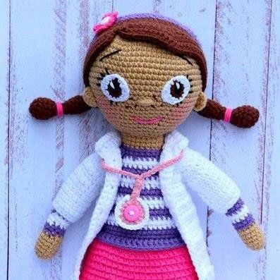 Doc McStuffins doll crochet pattern - printable PDF