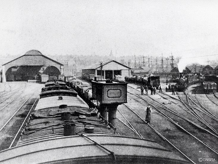 Guild Street  station buildings on the left were replaced in 1867 and the bus station which stood here approximately a century later itself has been replaced by a new retail development called Union Square.