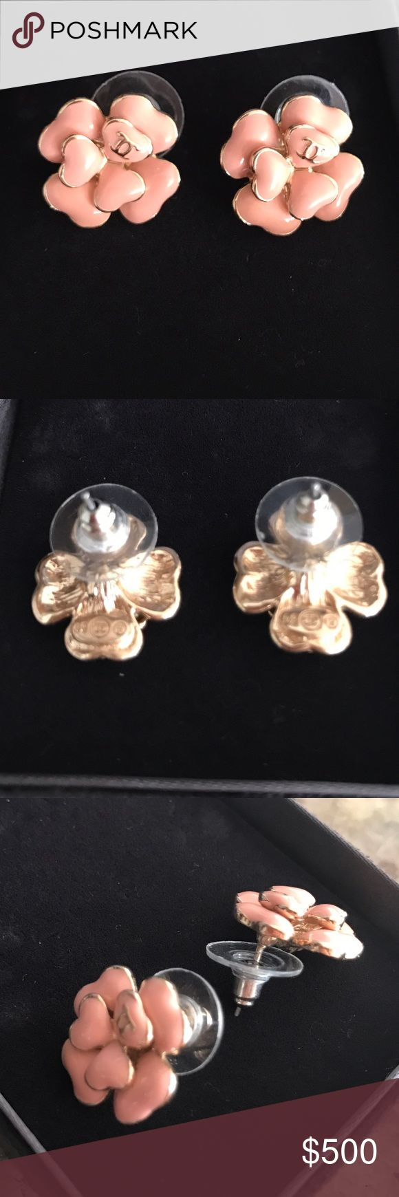 """*Sale* Chanel Rose Petals Earrings Chanel Rose Pate Earrings by Maison Gripoix. Poured glass in a pale rose is used for these feminine, floral earrings with multi layered petals. 1.5"""" across x .75"""" high. Excellent condition. CHANEL Jewelry Earrings"""