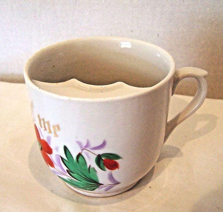 White China Mustache Cup orange blue flowers Think of Me quote on front