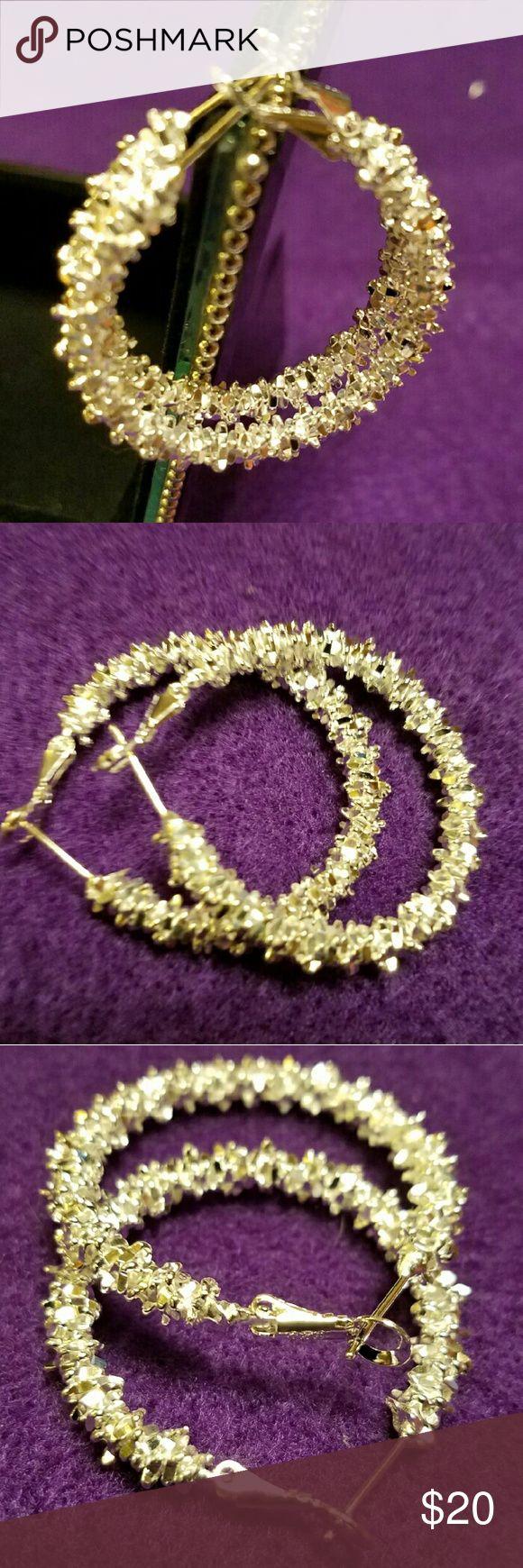 Silver 15 Inch Hoop Pierced Earring Nwot Costume Jewelryhope Costumesearringssilver