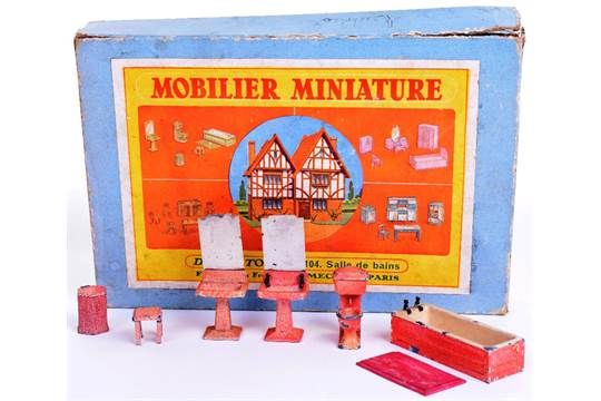 Scarce Pre War Dinky Toy Furniture Sets, 101 Dining Room Furniture, contains 101a table,101b side