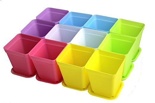 Zicome Colorful Plastic Plant Pots with Saucers, Set of 12