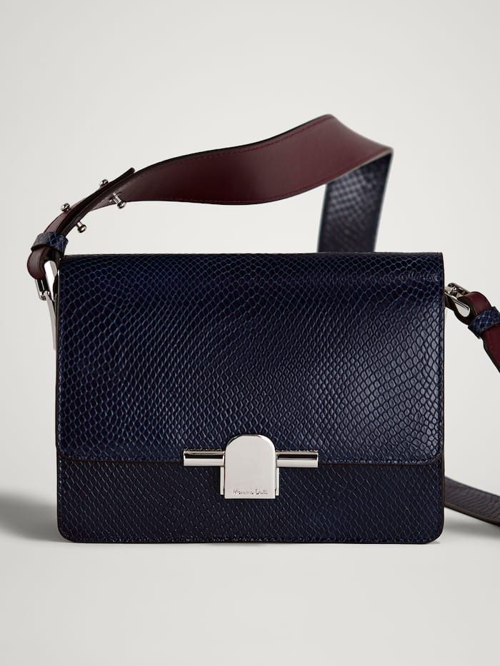f509a217 Navy and burgundy leather bag. View all - Bags & Wallets - ACCESSORIES -  WOMEN - Massimo Dutti