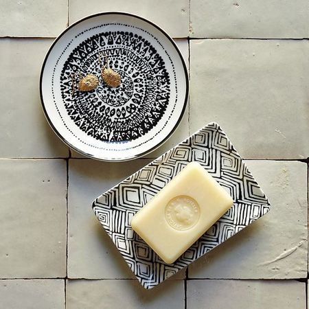 Black & White Hammam Soap Dishes from West Elm