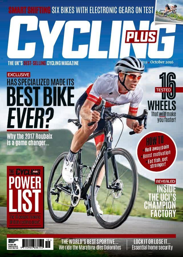 In this issue:    FREE Magazine - 36 page guide to getting stronger & faster    Has Specialized made its best bike ever? Why the 2017 Roubaix is a game changer    The Cycling Plus power list- The 18 people making British cycling great!    16 tested wheels that will make you faster    How to roll away pain, boost motivation & eat fish, get stronger    Revealed- inside the UCI's champion factory    The World's best sportive... we ride the Maratona dles Dolomites    Lock it or lose it... es