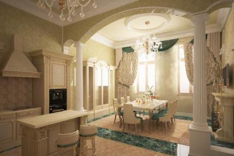 Классический стиль кухни-столовой с аркой