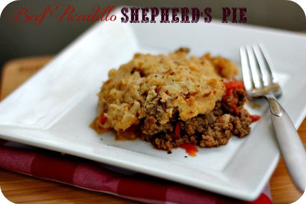 Beef Picadillo Shepherd's Pie - low on carbs! Topped with cauliflower instead of potatoes.