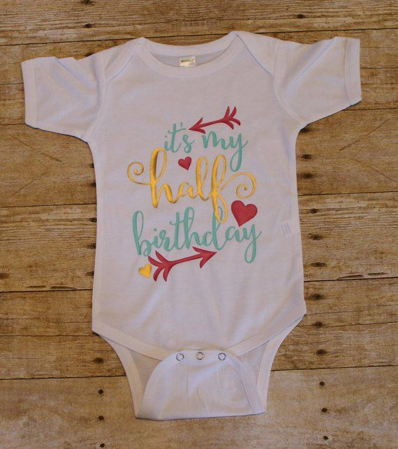 It's My Half Birthday baby girls bodysuit outfit - onesies - baby