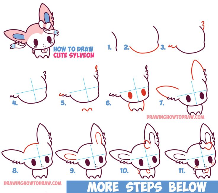 How to Draw Cute Chibi Kawaii Sylveon from Pokemon in Easy Step by Step Drawing Tutorial for Kids