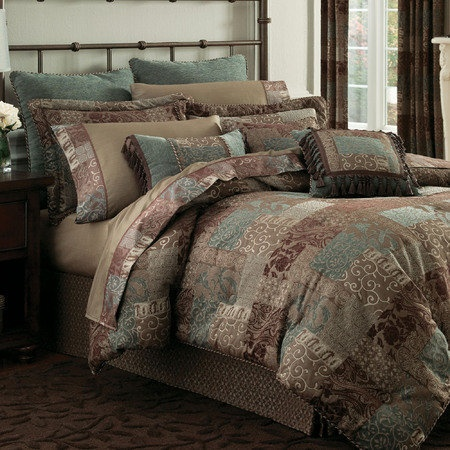 LOVE THIS !!!!!! CROSCILL GALLERIA KING SIZE COMFORTER SET CHOCOLATE TEAL PATCHWORK NIP