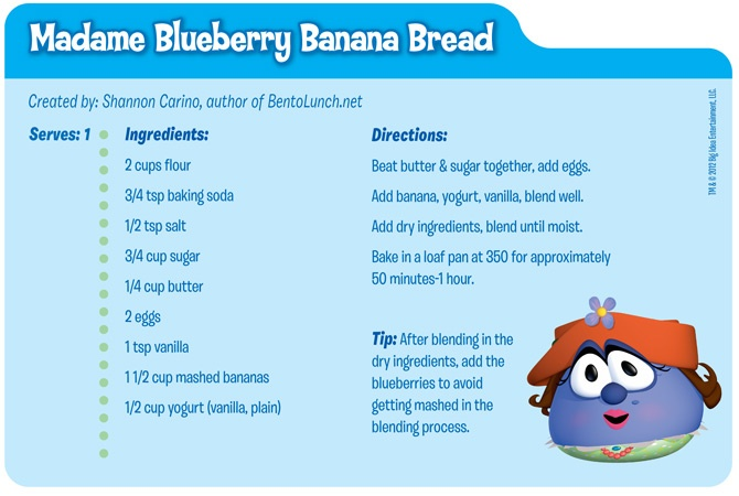 Make Madame Blueberry Banana Bread to include in your Veggie lunch! Free downloadable recipe card available today!