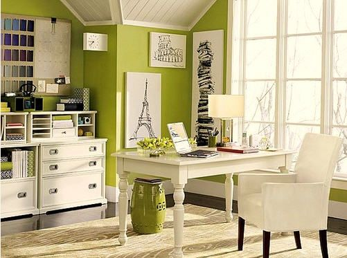 green walls: Wall Colors, Crafts Rooms, Green Wall, Offices Spaces, Green Offices, Offices Ideas, Homes, Homeoffice, Home Offices