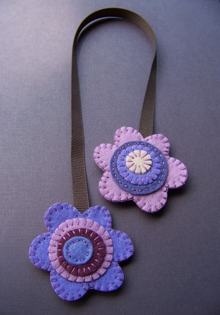 Purple Flowers double-sided felt bookmark | by soleilgirl