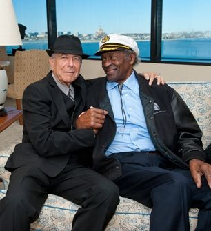 Leonard Cohen and Chuck Berry backstage at the PEN New England Awards for Song Lyrics of Literary Excellence at the John F. Kennedy Library in Boston. Read more: http://www.rollingstone.com/music/news/chuck-berry-leonard-cohen-get-first-pen-songwriting-awards-20120227#ixzz1nhEN7QAM