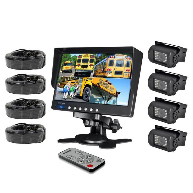 HAIN Weatherproof Rearview Backup Camera System with 7'' LCD Color Monitor, Built-in Quad Control Box Screen Function, (4) IR Night Vision Cameras, Dual DC 12/24V for Bus, Truck, Trailer, Van