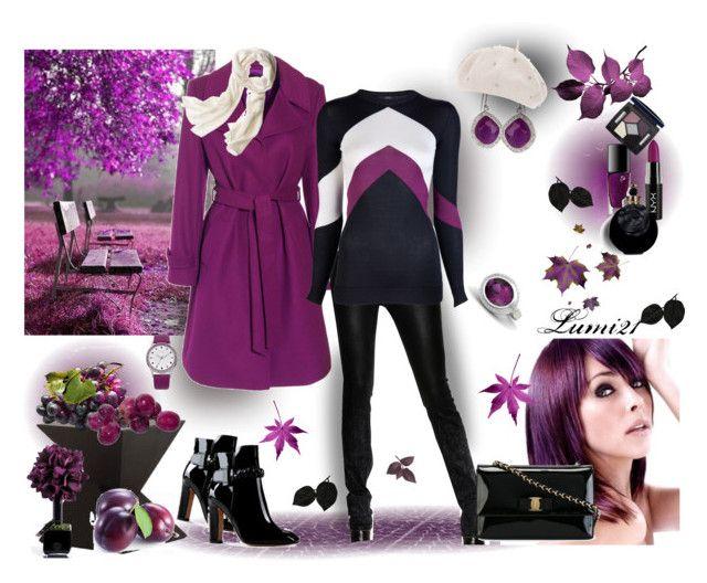 purple autumn by lumi-21 on Polyvore featuring Giulietta, Jaeger, Diesel Black Gold, Valentino, Salvatore Ferragamo, Miriam Salat, Gemvara, Oasis, Reed Krakoff and Dorothy Perkins