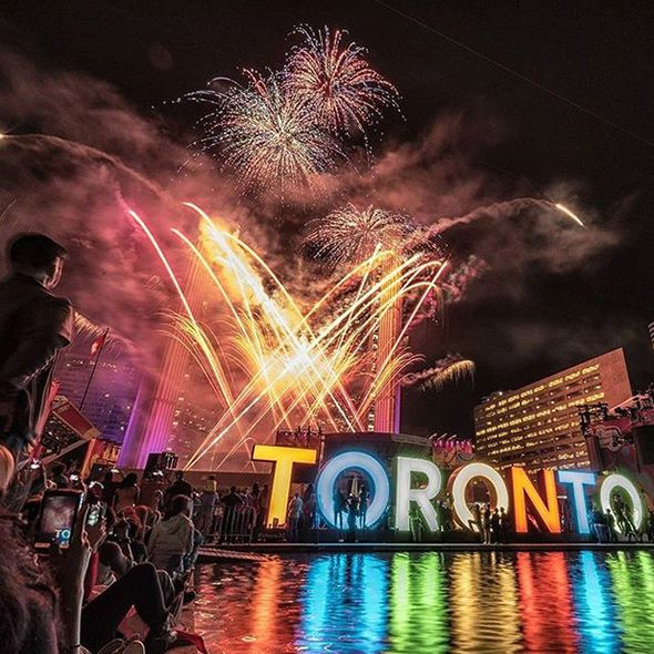 Pan Am Games Fireworks in Toronto's Nathan Phillips Square 2015