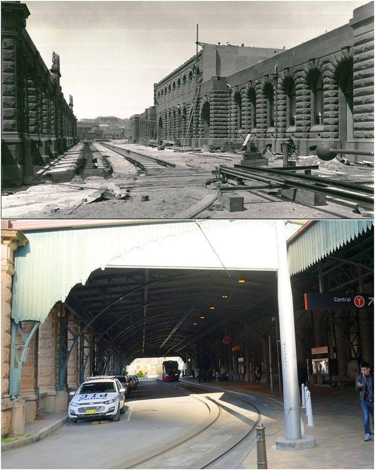 Construction work on Central Railway Station upper colonnade c1905 > 2016. [State Records > Kevin Sundgren. By Kevin Sundgren]