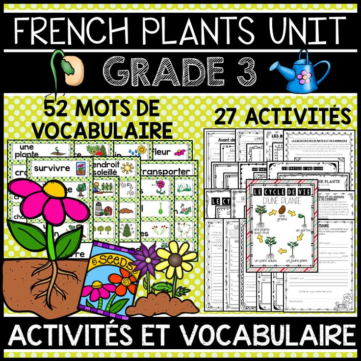 THIS UNIT IS PART OF A BUNDLE, WHICH INCLUDES ALL FOUR GRADE 3 SCIENCE UNITS IN FRENCH. SAVE OVER 15% WITH THE BUNDLE.  This file includes a Grade 3 French Science Unit for Growth and Changes in Plants (LES PLANTES: CROISSANCE ET CHANGEMENT). The unit includes 52 word wall labels and 27 activities.