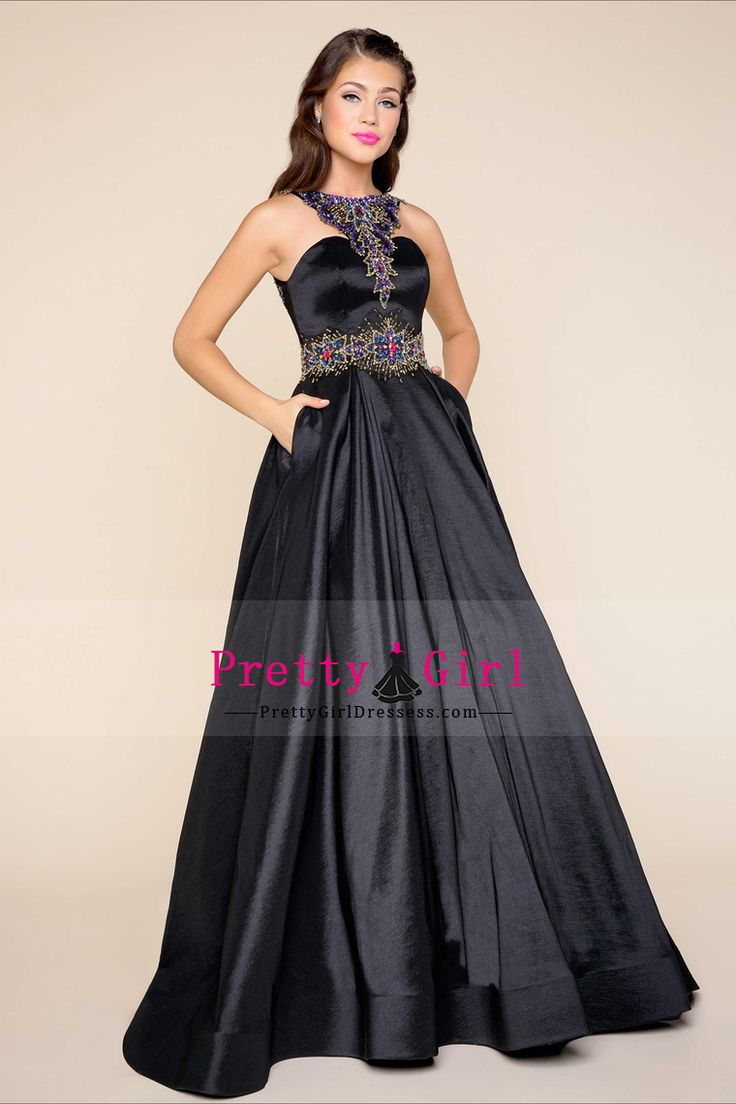 2017 Prom Dresses Scoop Taffeta With Beading A Line Sweep Train US$ 159.99 PGDP89212LE - PrettyGirlDressess.com for mobile