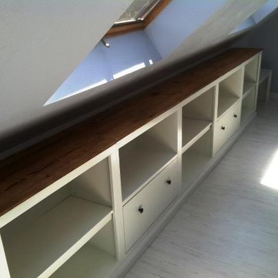 attic built-ins: shelves and drawers