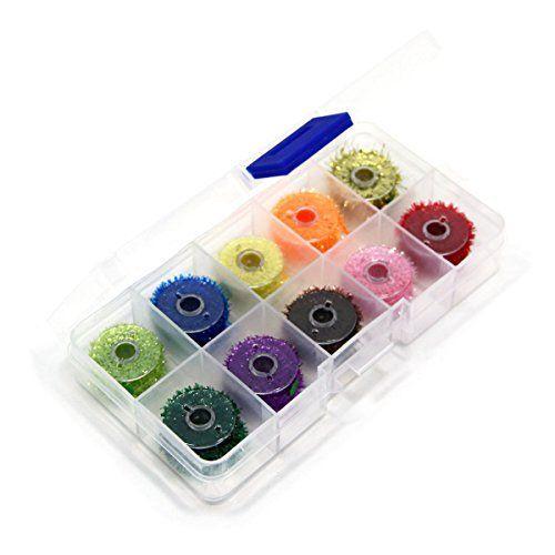 Comprar carrete de mosca Sam's Fishing  1 caja con 10 bobinas de hilo de color para moscas tamaño medio 7 mm 10 carretes de colores populares