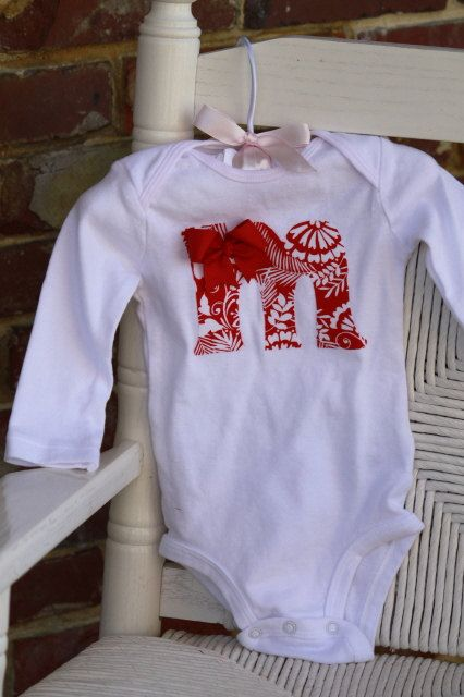 Baby Girl Christmas Initial Onesie - Red and White - hand cut applique initial of your choice topped with a beautiful bow on Etsy, $21.00
