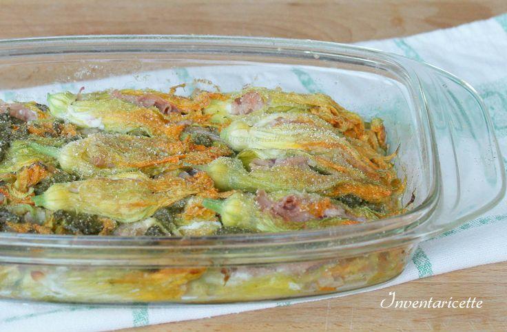 Fiori di zucca al forno con Pesto e Mortazza