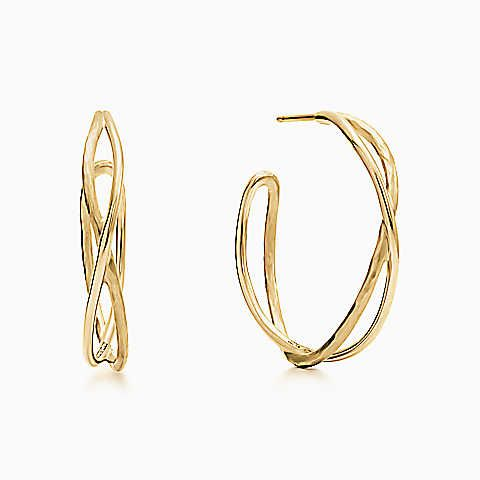 Paloma Picasso® Hammered crossover hoop earrings in 18k gold, medium.