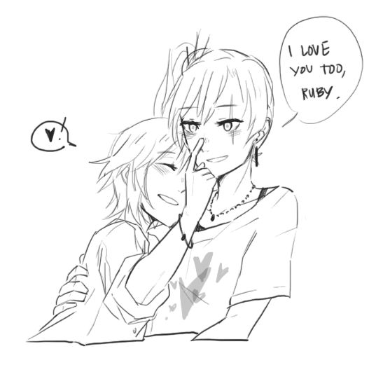 """White Rose AU where Ruby is mute and Weiss is blind, so they learn the morse code to communicate <3Ruby's tapping""""I love you"""" on Weiss' nose, btw XD"""