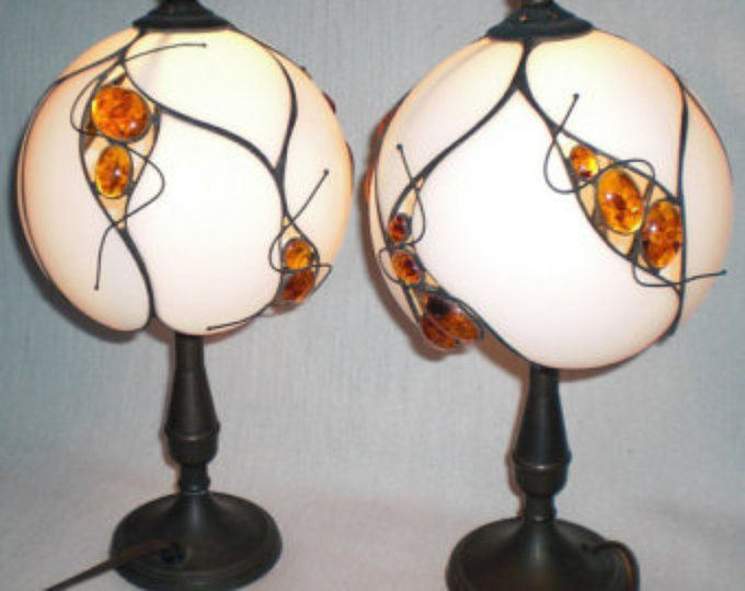 Tiffany lampes de table « Ambre » Tiffany-modèle unique