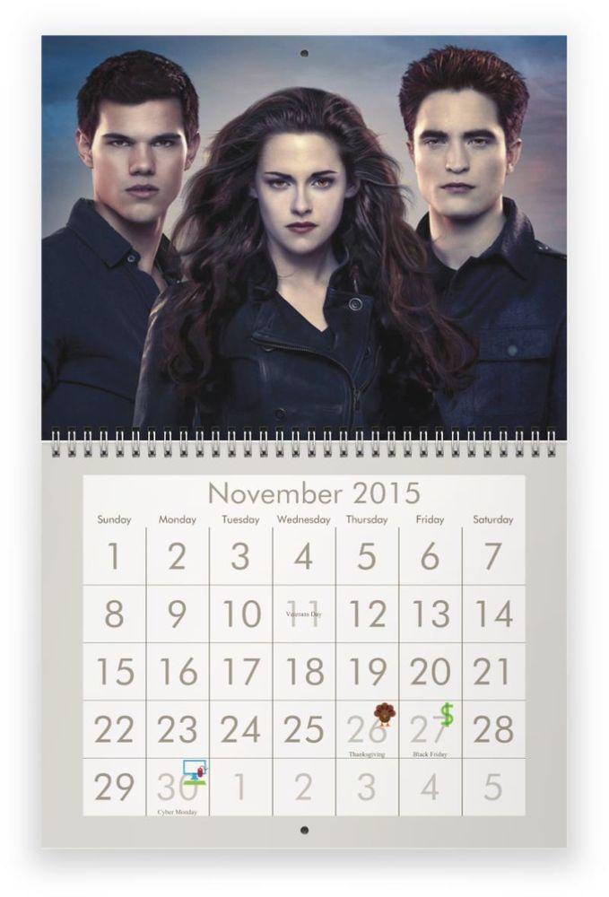 TWILIGHT (Robert Pattinson, Kristen Stewart & Taylor Lautner) 2015 Wall Calendar - $26.99 - 24 HOUR SALE!!!