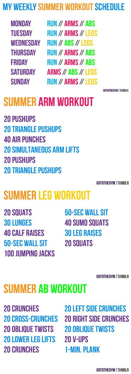 Summer workout schedule...use as a guide for weekly workouts...can be tailored to your ability