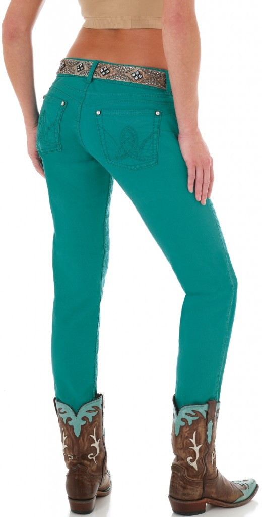Turquoise Booty Up jeans by Wrangler www.horsesandheel...