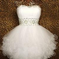 Gorgeous Chic white mini the prom dress/cocktail dress