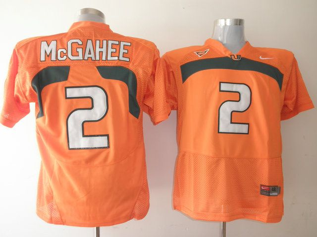 Men's NCAA Miami Hurricanes #2 Willis McGahee Orange Jersey