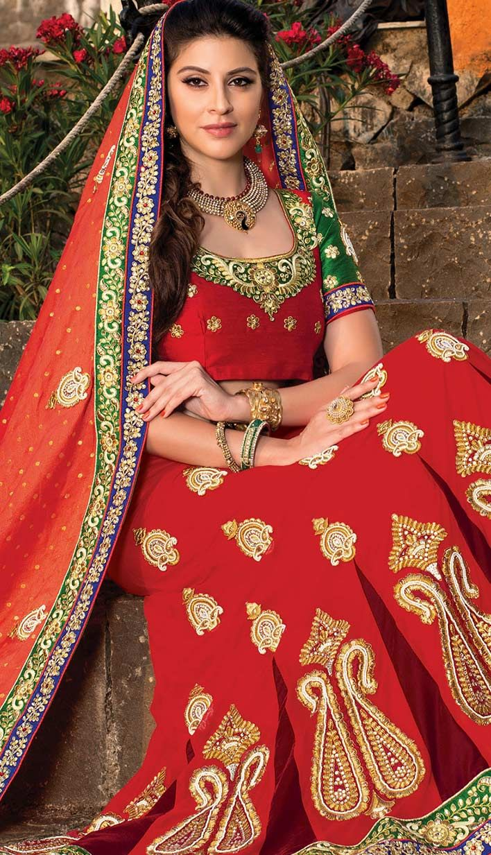 Buy Indian Traditional Red Nett Designer #LehengaCholi Product code: KBL-42551-CA Price: INR 13404 (Unstitch Blouse), Color: Red Shop Online now: http://www.efello.ca/Bridal_Indian-Traditional-Red-Nett-Designer-Lehenga-Choli_141452
