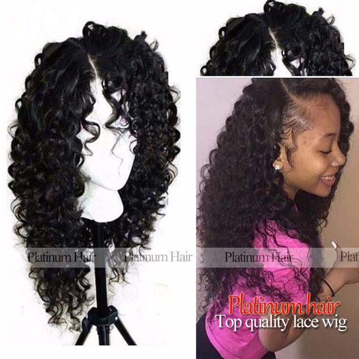Afro Crépus Bouclés Synthétique Avant de Lacet Perruque Noir Perruques avec Bébé Cheveux Résistant À La Chaleur Synthétique Cheveux Perruques pour Les Afro-américains