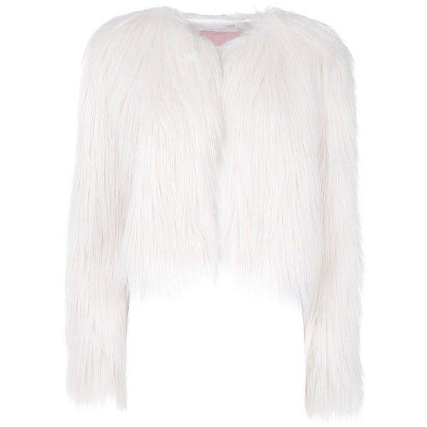 Giamba  Faux Fur Jacket (2.375 RON) ❤ liked on Polyvore featuring outerwear, jackets, giamba, lined jacket, white jacket, fake fur jacket and white faux fur jacket
