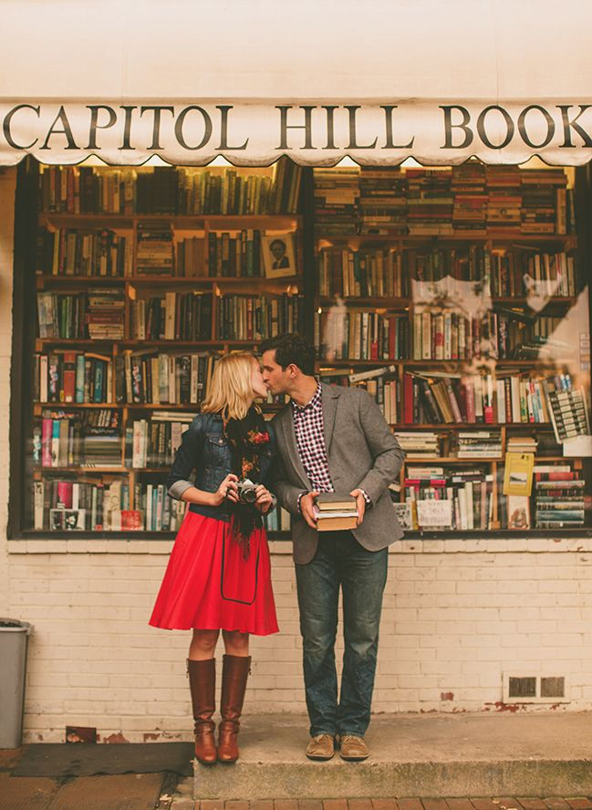 book store engagement pictures- now that's cute. suddenly i want to get married, i met mine at a bookstore....
