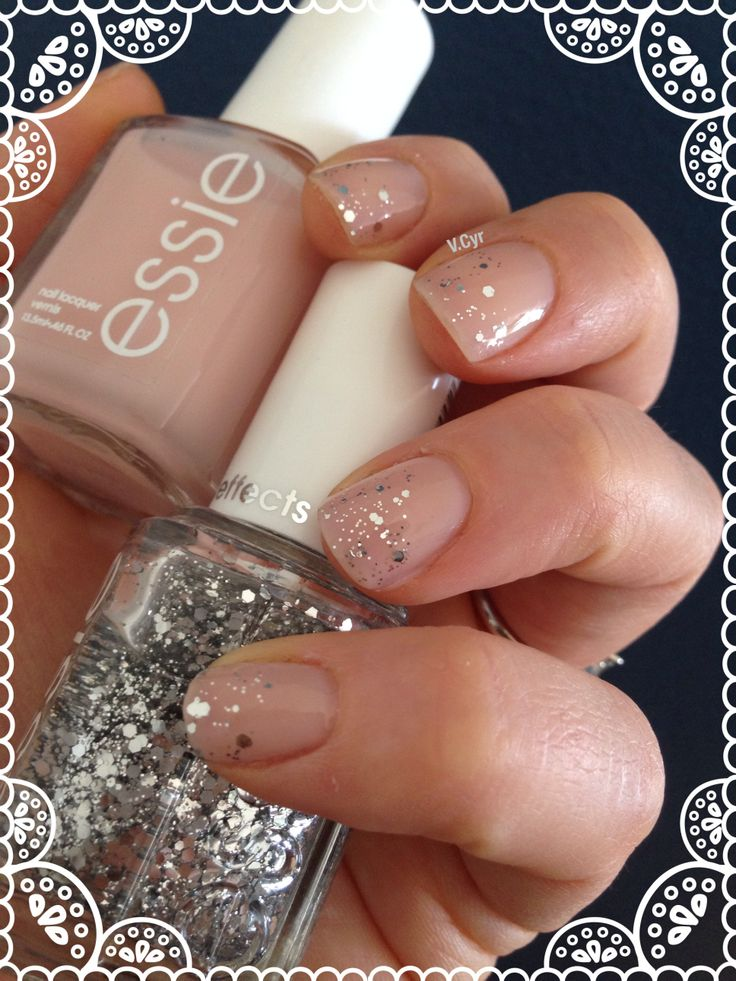Essie Mademoiselle et Set in stones. Nail art wedding nails manucure mariage